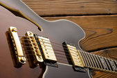 Semi hollow body blues guitar — Stock Photo