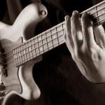 Playing jazz bass — Stock Photo