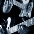 Bass and guitar on blue — Stock Photo