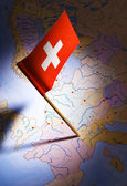 Switzerland on europe map — Stock Photo