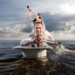 The newlyweds are in the bath voyage — Stock Photo