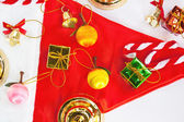 Christmas gift on Santa hat — Stock Photo