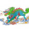 Drawing of colorful Chinese dragon — Stock Photo