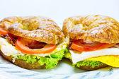 Homemade whole wheat croissant sandwich — Stock Photo