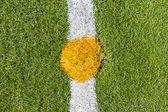 Center of artificial grass soccer pitch — Foto Stock