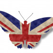 Vintage style England Butterfly Flag isolated on white — Stock Photo