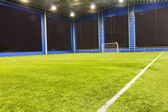 Football (soccer) goal and field — Stock Photo