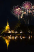 Firework with pagoda at Sukothai Thailand — Stockfoto