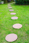Brown Stone path on green grass — Stock Photo