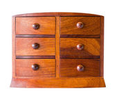 Vintage wooden chest with drawer on white — Zdjęcie stockowe