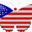 United States of America Butterfly Flag isolated on white with c — Stock Photo