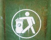 White sign on used green garbage bin — Stockfoto