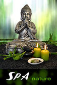 Buddha with massage stones and green clay — Stock Photo