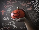Halloween pumpkin possessed by evil — Foto de Stock
