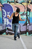 Breakdance dancer on a city street — Stock Photo