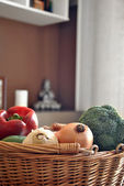 Wicker basket with a variety of vegetables — Стоковое фото