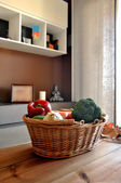 Wicker basket with a variety of vegetables i — Stock Photo