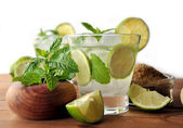 Glass of mojito cocktail with mint — Stock Photo