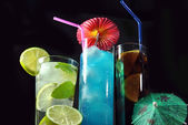 Three different refreshing cocktails — Stock Photo