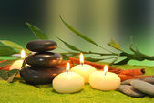 Candles and stones for massage — Stock Photo