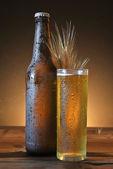 Copo e a garrafa de cerveja gelada — Fotografia Stock