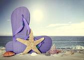 Flip flops with starfish  — Stock Photo