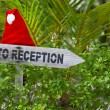 Wooden pointer to reception of a tropical hotel — Stock Photo #21074335