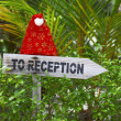 Wooden pointer to reception of a tropical hotel — Stock Photo #21074367