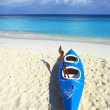 Blue boat is on a beach 2 - Stock Photo