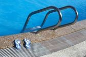 Sunglasses by swimming pool — Foto Stock