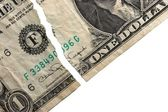 Ripped dollar — Stock Photo