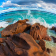 Seascape view  with a huge stones - Stock Photo