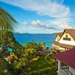 Stock Photo: Seascape view with a tropical hote