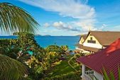 Seascape view with a tropical hote — Stock Photo