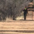 Stock Video: Womwalking down Manitou Incline