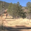 Woman walking up the Manitou Incline - Stock Photo
