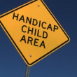 Handicap Child Area sign with right to left trucking — Stock Video