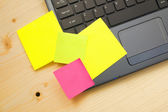 Post it notes on laptop — Stock Photo