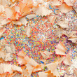 Crayon shavings on white background — Stock Photo