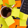 Coffee cup and blankpost it notes — Stock Photo
