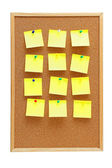 Office cork board with blank post it notes — Stock Photo