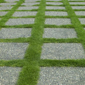 Manicured grass and stone tiles — Stock Photo