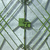 Green metal gate — Stock Photo
