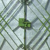 Green metal gate — Stock Photo