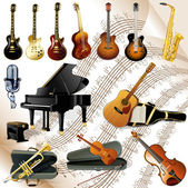 Collection of various music instruments on chords sheet — Stock Vector