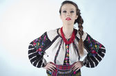 Beautiful girl in ukrainian cloth on white background — Stock Photo