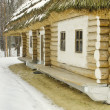 Old wood hut covered with straw in snow — Stock Photo #21180005