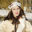 Smiling woman in tradition ukrainian cloth — Stock Photo