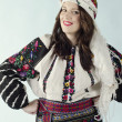 leende womanin tradition ukrainska tyg — Stockfoto #21624301