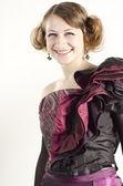 Portret kobiety atrakcyjne, piękne, uśmiechnięte, ubrany w stary modny styl — Zdjęcie stockowe